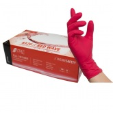 NITRAS RED WAVE, nitrile disposable gloves, red, non-sterile, rolled edge, powder-free, manufactured according to EN 455, for food contact, ambidextrous, medical examination gloves, micro-roughened fingertips, colour code system for sizes, AQL 1,5 MCD MEDICAL CARE DENTAL GmbH
