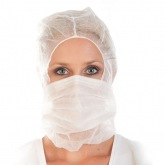 Cap with face mask, disposable, PP, nonwoven, WHITE Franz Mensch