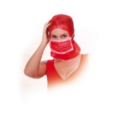 Cap with face mask, disposable, PP, nonwoven, RED, YELLOW Franz Mensch